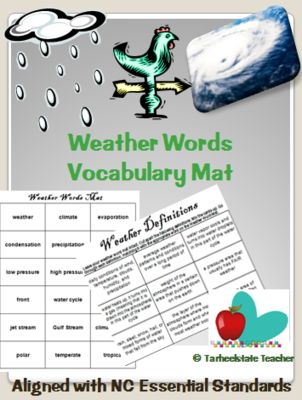 Weather+Vocabulary+Match+Up+Mat-definition+study+strategy+from+Tarheelstate+Teacher+on+TeachersNotebook.com+-++(5+pages)++-+This+packet+contains+two+vocabulary+mats+for+weather+words.+One+includes:+weather,+climate,+evaporation,+condensation,+precipitation,+El+Nino,+La+Nina,+Gulf+Stream,+Jet+Stream,+etc.+The+second+mat+has+types+of+clouds+and+weather+tools--cumulus,+cumulonimb