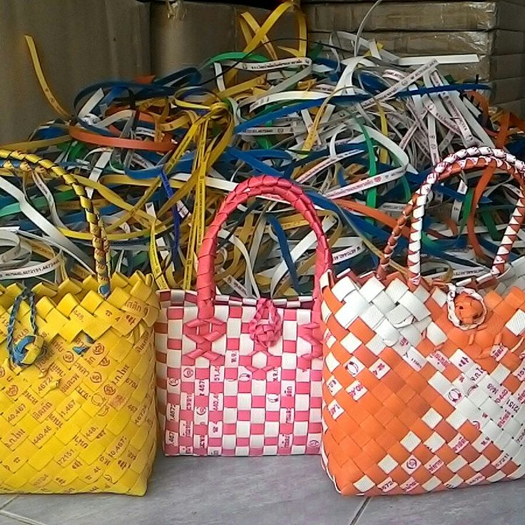Weaved Market Baskets made using reclaimed packing strip.