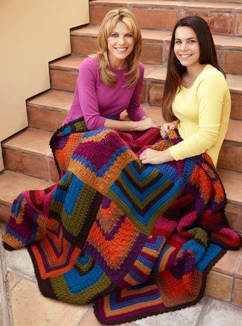 Mitered Diamonds Throw By Vanna White - Free Crochet Pattern - (craftyarncouncil)