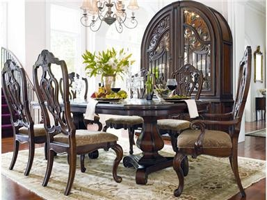 universal casa verona double pedestal table and 4 wood back side chairs mathis brothers