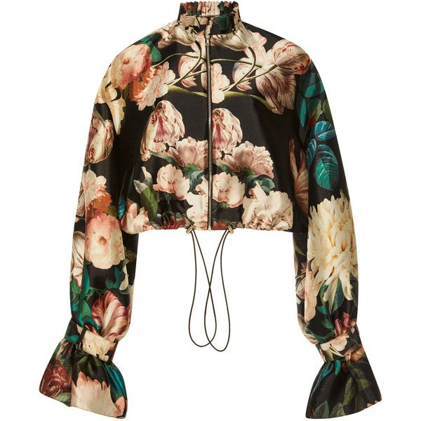 Sachin & Babi Doshi Floral Jacket (2.280 BRL) ❤ liked on Polyvore featuring outerwear, jackets, jacket's, tops, floral, ruffle jackets, flower print jacket, white jacket, floral print jackets and white ruffle jacket