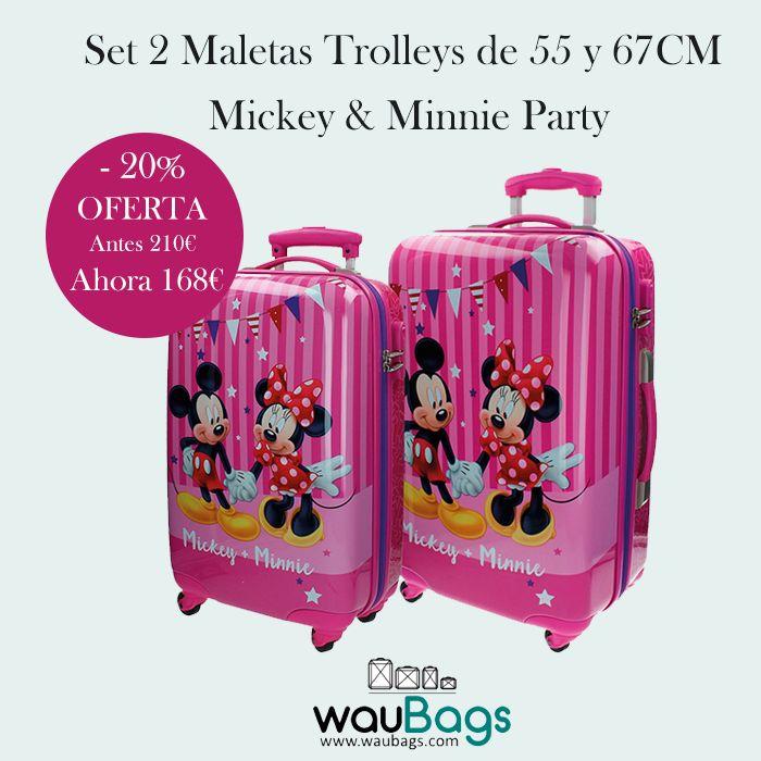 """Precioso Set de Viaje compuesto por 2 originales y prácticas Maletas Trolley Disney """"Mickey & Minnie Party"""" (tamaño cabina y mediano).  ¡¡Ahora por tan solo 168€ y con gastos de envío gratis!!  @waubags  #disney #minnie #mickey #maletas #trolleys #viaje #oferta #descuento"""