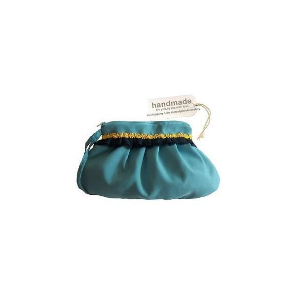 BORSA donna POCHETTE clutch bag CELESTE blu GIALLA rockabilly ELEGANTE