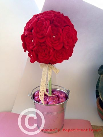 Felt red rose topiary as a centerpiece for Easter table crafted by Joanne's PaperCreations