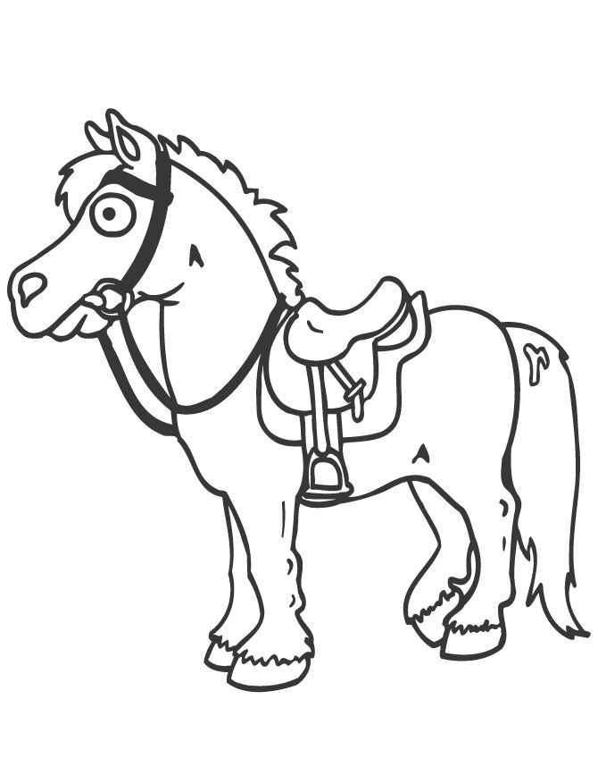 Cartoon Horse And Saddle Coloring Page
