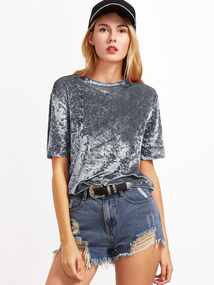 Shop Grey Short Sleeve Crushed Velvet T-shirt online. SheIn offers Grey Short Sleeve Crushed Velvet T-shirt & more to fit your fashionable needs.