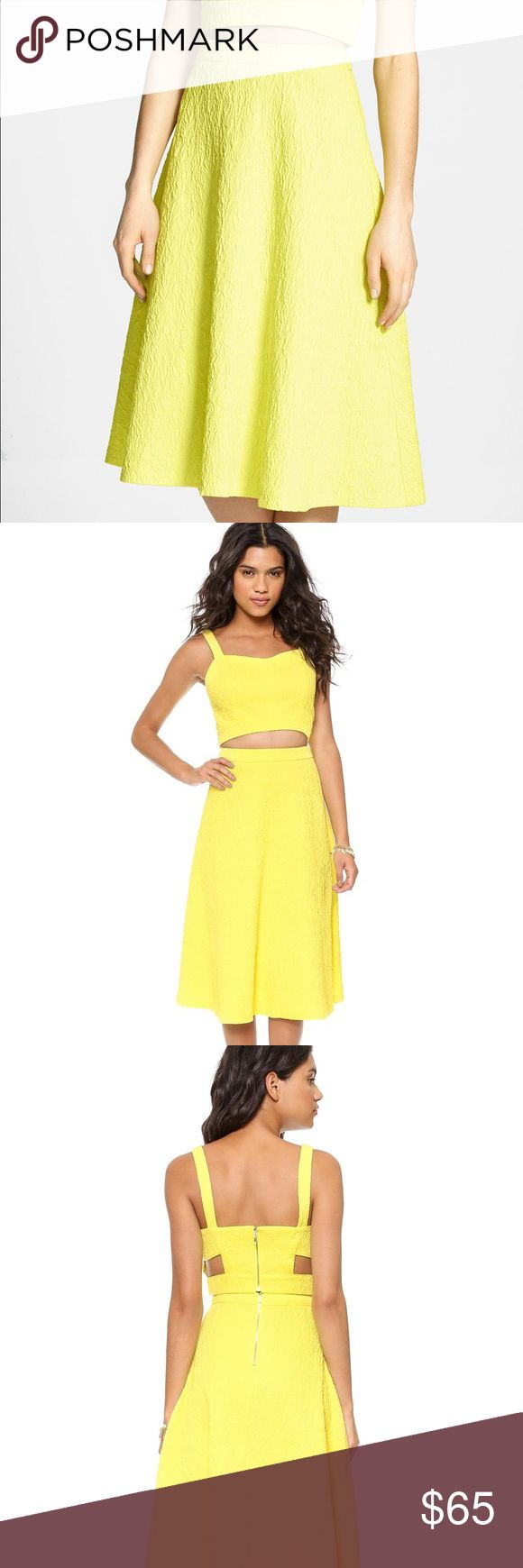 J.O.A. Neon Yellow Textured Crop Top & Midi Skirt J.O.A Los Angeles - Textured neon yellow crop top (size M) & midi skirt (size XS). Bought as a set, but will sell as separates. 👉Make an offer! 👈 NEVER WORN w/ Tags! From smoke-free, pet-free home. J.O.A. Los Angeles Skirts Midi