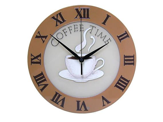Coffee Time Wall Clock with Roman Numerals Brown Kitchen