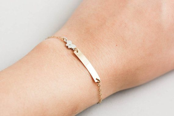 14K Baby Bar Bracelet, Newborn Bracelet, Gold ID Kids Bracelet, Engraved Gold Bracelet, Baby 14K Bracelet, Christening, Baptism Gift, GB0315