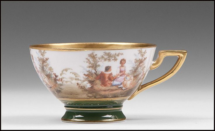Schlaggenwald Porcelain Royal Vienna Style Cup & Saucer