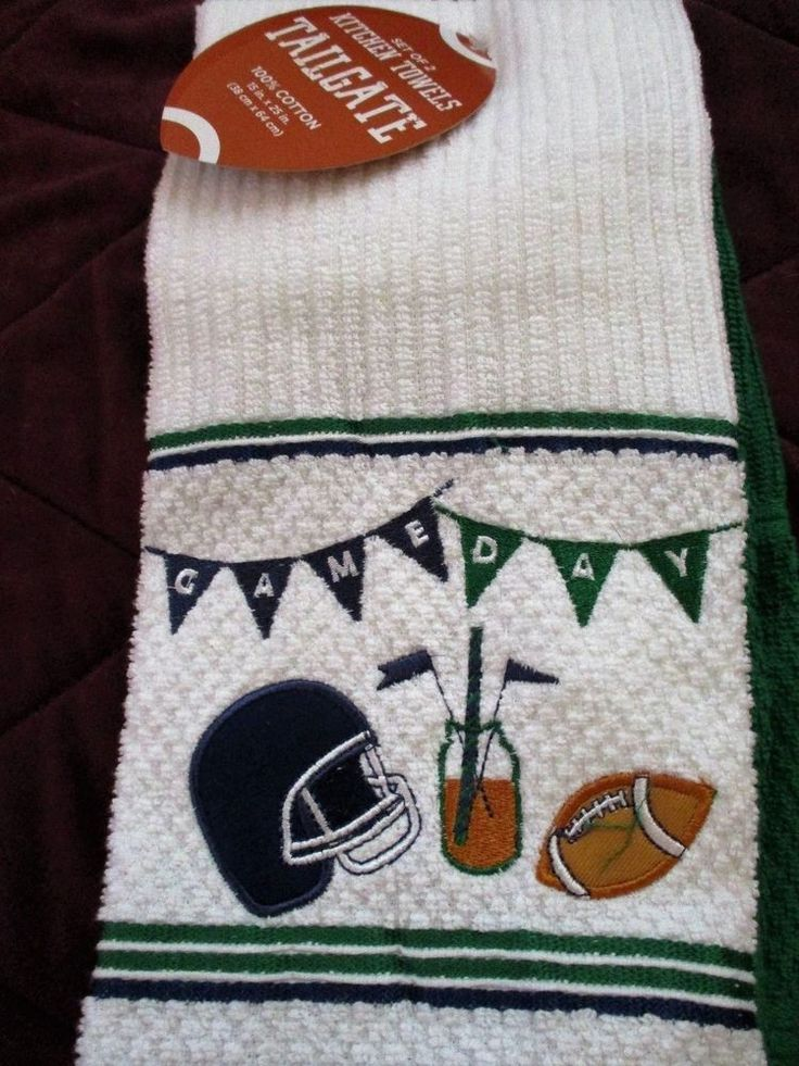Set of 2 Tail Gate Sunday Football GAME DAY Kitchen Hand Towels Superbowl Party #sundayfootball #home #football
