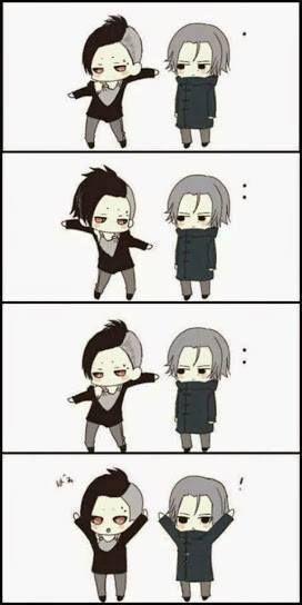 Uta and Yomo as chibi dancing ghouls - Tokyo Ghoul