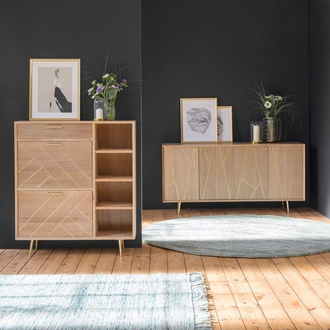 Chiffonnier Scandinave Lignes Dorees Pieds Compas Cf54 Bois Made In Meubles La Redoute Decor Home Decor Design