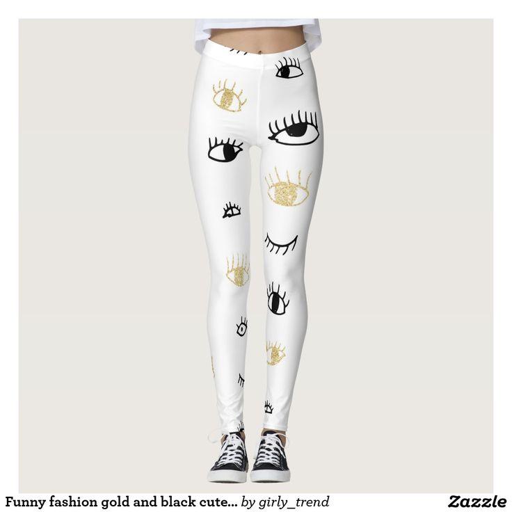 Funny fashion gold and black cute eyes pattern leggings