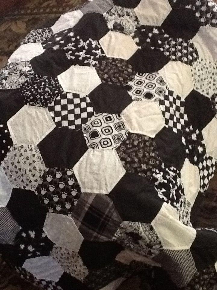 Hexagon quilt - artist unknown- black & white, or dark plum...