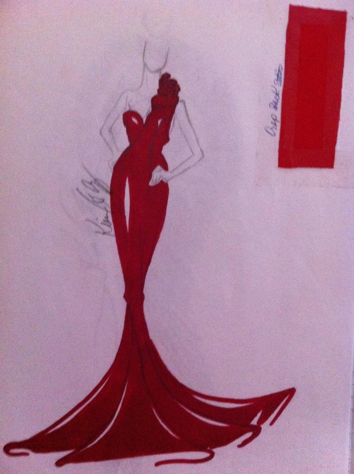 The sketch of a killer red dress!