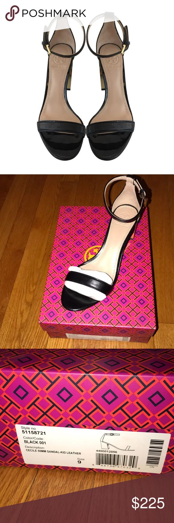 Tory Burch Cecile black leather sandal size 9 NIB