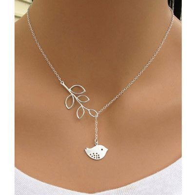 Bird Leaf Design Necklace #every-day #fashion #fun #other #silver