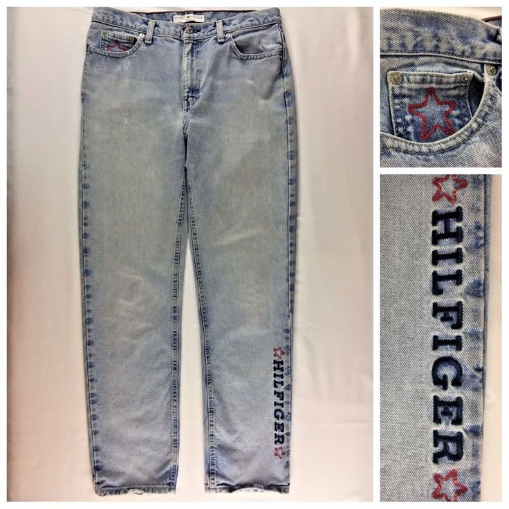 Womens Vintage 90s Tommy Hilfiger Jeans Size 10* Spell Out Grunge Boyfriend RARE #TommyHilfiger #Casual