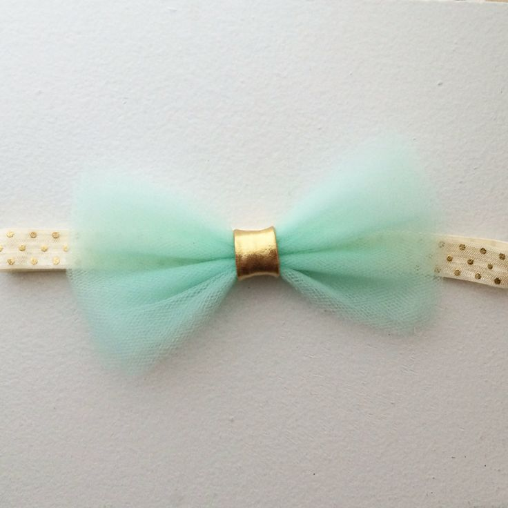 The Jasmine Headband with mint tulle bow by ConfettiBabe on Etsy, $8.00