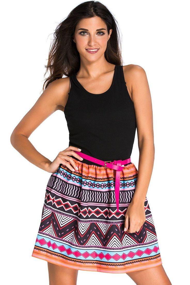 Black Tank Top Tribal Print Skirt Flared Dress modeshe.com