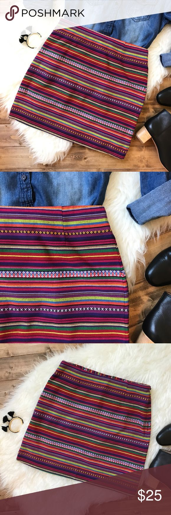 """• SHRINKING VIOLET Mexican print mini skirt • Mexican and Aztec print inspired mini skirt with bright colorful stripes! So fun and gorgeous! Pair with a chambray or a sweater with boots in the fall! One statement piece that finishes an outfit perfectly! Waist: 14"""" Length: 16"""" ❤️ the chambray shown in the pictures is also listed for sale in my closet!  shrinking violet Skirts Mini"""