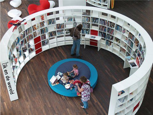 Incredibly cool shelving unit at the public library in Amsterdam.