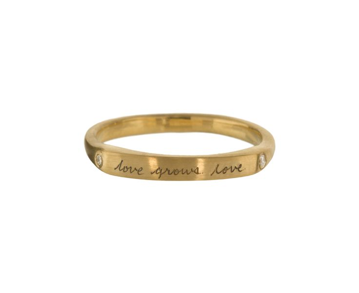 Jeanine Payer Golden Wedding Band with Quote
