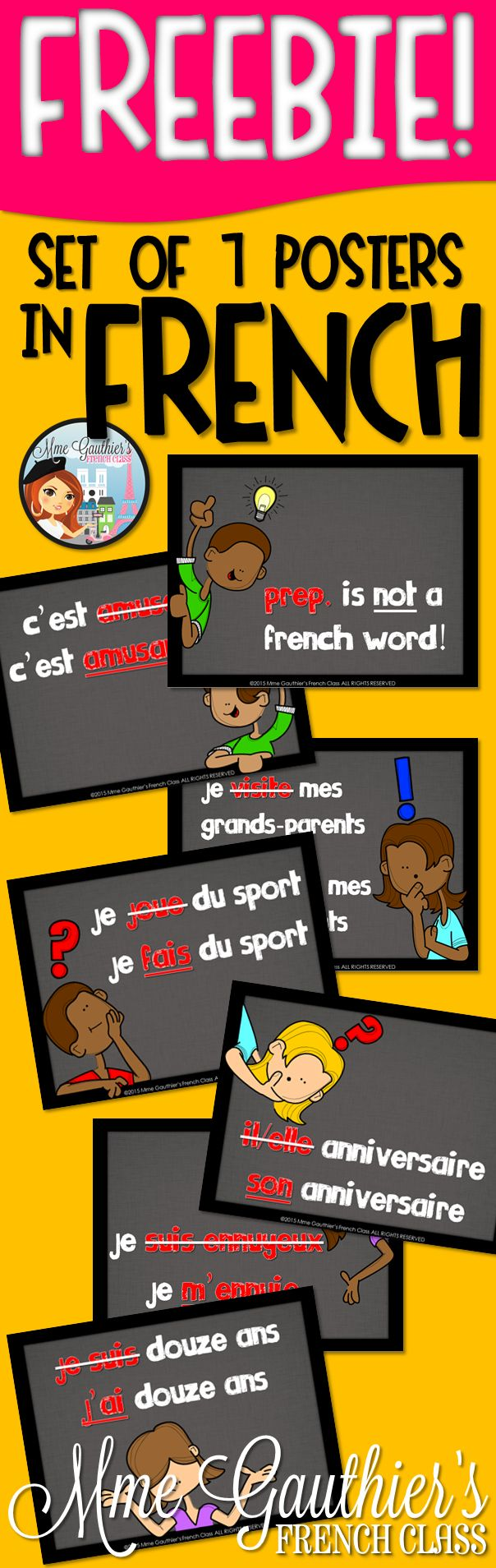 *FREEBIE* Set of 7 Classroom Posters | Common Mistakes in French