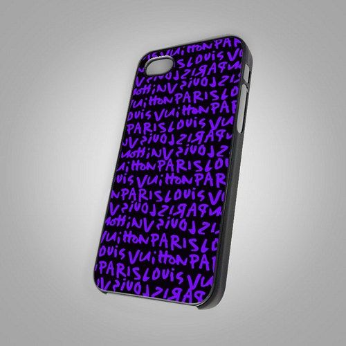 "Louis Vuitton Paris Purple Color Print on Hard Plastic For iPhone 5 Case, Black Case  This case is available for: iPhone 4/4S iPhone 5/5S iPhone 6 4.7"" screen Samsung Galaxy S4 Samsung Galaxy S5 iPod"