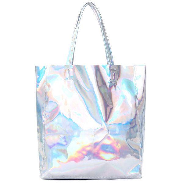 Silver PU Shoulder Bag (€15) ❤ liked on Polyvore featuring bags, handbags, shoulder bags, romwe, holographic, white handbags, white shoulder handbags, silver shoulder bag, holographic handbag and silver shoulder handbags