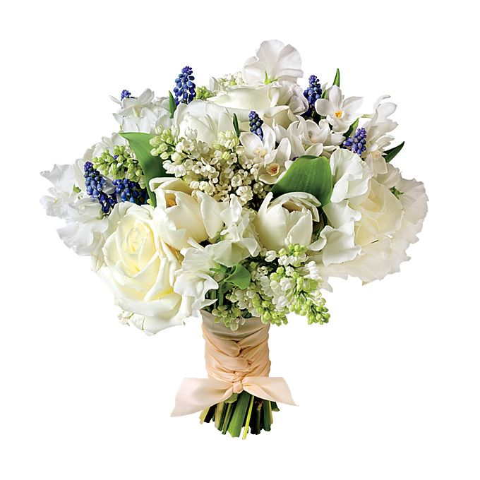 Brides.com: The Prettiest Wedding Bouquets of the Year. A Preppy Wedding Bouquet with Lilac. Elegant and with a nautical undertone, this bouquet is ideal for a summer wedding in a lush garden.  Lilac, muscari, hydrangra, tulip, rose, sweet pea and narcissus wedding bouquet, $250, Zezé Flowers  See more lilac wedding flowers.