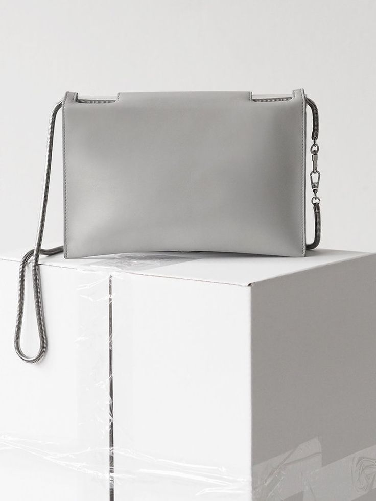 Flat Fold Bag / grey leather with gunmetal snake chain / by Aetelier