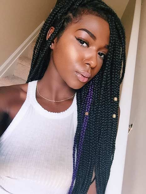 Long Poetic Justice Braids (Box Braids) with a Pop of Purple