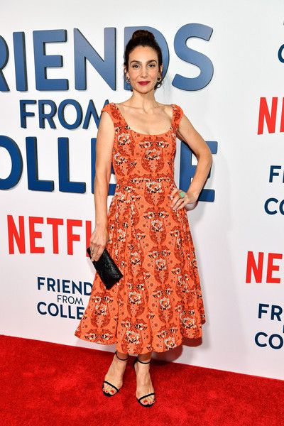 Annie Parisse Print Dress - Annie Parisse channeled the '50s with this orange fit-and-flare print dress by Zac Posen at the New York premiere of 'Friends from College.'