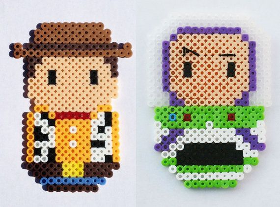 Perler Bead Chibi Bean Toy Story Buzz Lightyear & Woody by LunasRealm
