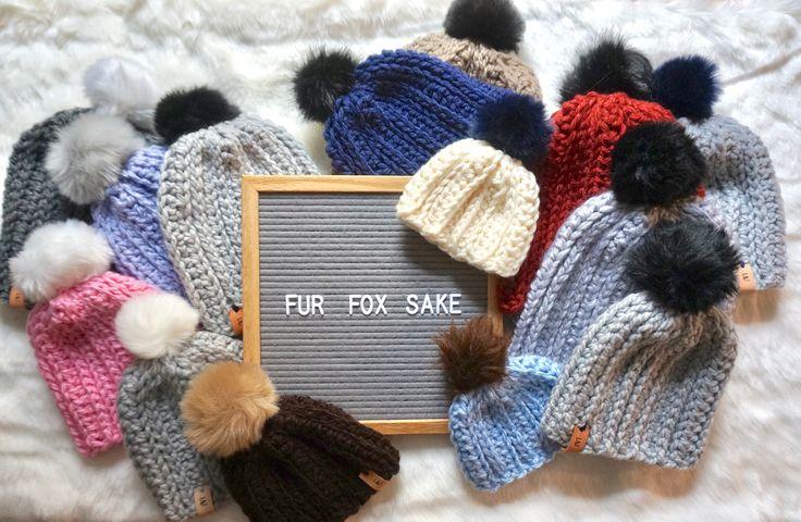Crochet hats / faux fur pompoms / letterboard