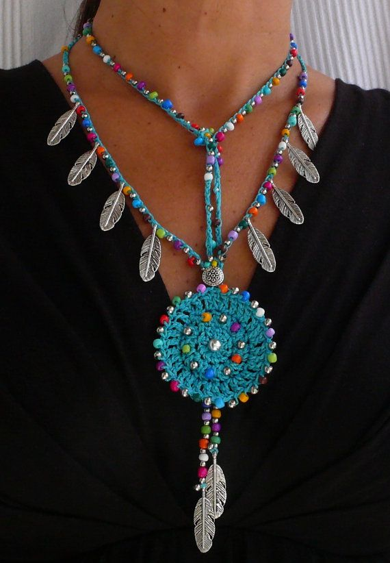 Turquoise Ethnic MANDALA CROCHET NECKLACE boho by PanoParaTanto