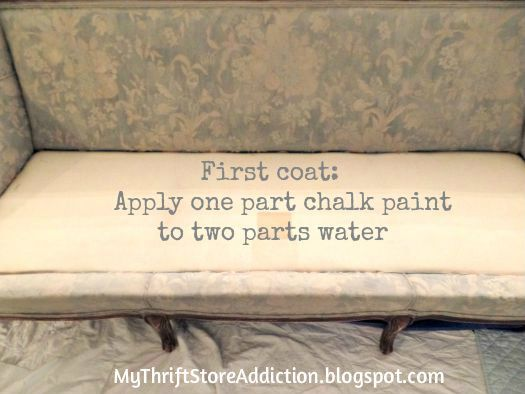 Painted Sofa Reveal  mythriftstoreaddiction.blogspot.com  Chalk painted sofa tutorial