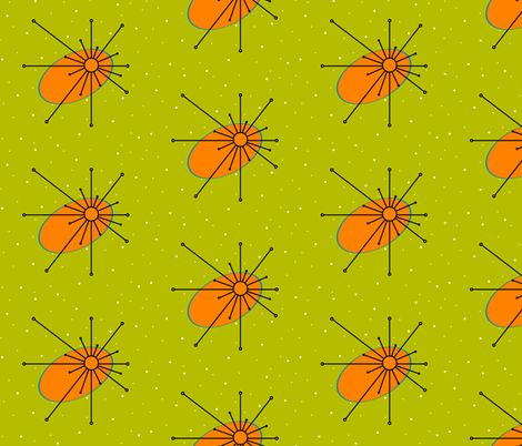 Star - Olive/Orange/Turquoise fabric by gammagammahey on Spoonflower - custom fabric