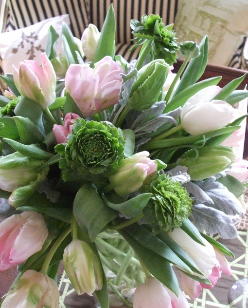 Green ranuculus, green and pink tulips