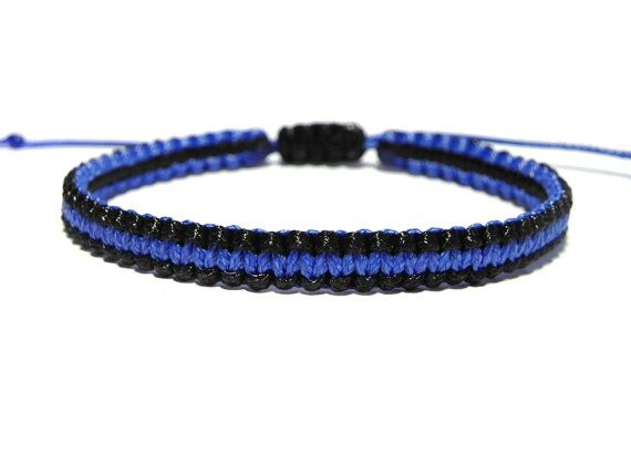 Thin Blue Line Bracelet - Police Officer Gift by ElwynJewelry