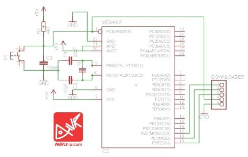 AVR ATMega8 Schematic Circuit with Eagle Software :http://avrchip.com/avr-atmega8-schematic-circuit-with-eagle-software/