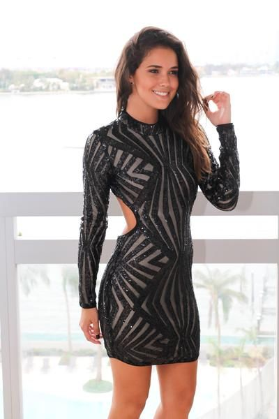 Black Sequin Long Sleeve Short Dress with Open Back | Short Dresses – Saved by the Dress