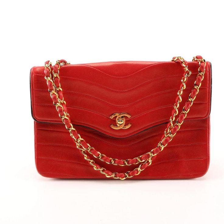 $7000 AUTHENTIC CHANEL MADONNA RED CHEVRON BAG PURSE 24K GOLD HARDWARE 2.55  #CHANEL #MessengerCrossBody