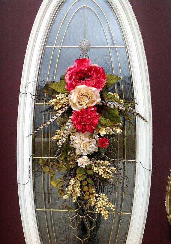 Spring Wreath Summer Wreath Teardrop Door Twig Swag