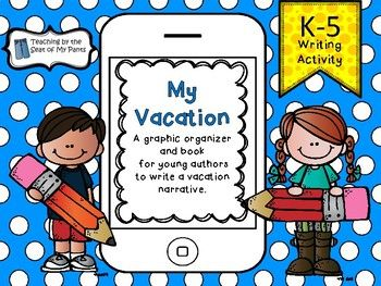 Use this great little iphone book for students to write a vacation story. Young authors can use the graphic organizer to plan the beginning, middle, and end of their narrative. Then they get their very own book to complete with pictures and words. Books come complete with a cover, dedication page, writing pages, and an about the author