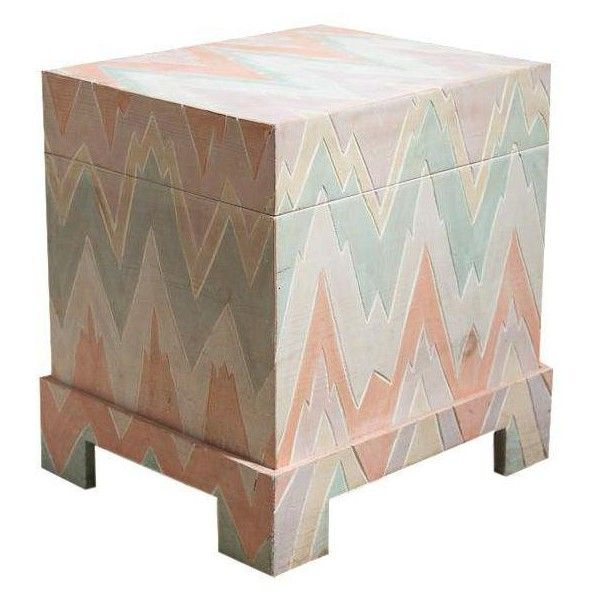 Pastel Geometric Wooden Storage Box (£160) ❤ liked on Polyvore featuring home, home decor, small item storage, boxes, chevron home decor, wooden storage boxes, geometric home decor, pastel storage box and timber box