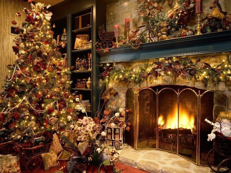 Cozy Fireplace Scene Christmas Pinterest