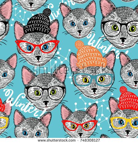 Seamless winter pattern with cat in hat. Smart animals vector background. Colorful endless wallpaper for kids and adults.
